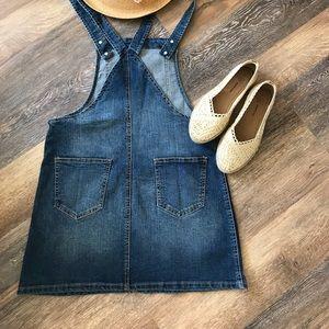 🌸brand new - blue spice denim overall skirt L
